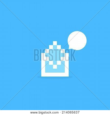 white pixel art letter like notification. concept of correspondence, mosaic, 8bit visual identity, sms spam, report missive. flat pixelart style trend modern logotype graphic design on blue background