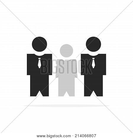 two bodyguards protect client. concept of fbi, military, defend, escort, superstar block, occupation, authority, safe-conduct, gangster. flat style trend modern logo graphic design on white background