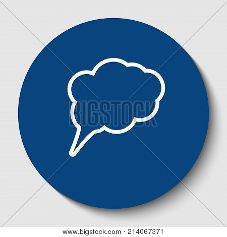 Speech bubble sign illustration. Vector. White contour icon in dark cerulean circle at white background. Isolated.