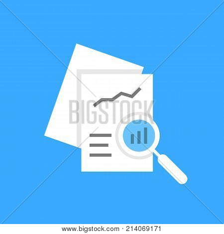 white document auditing like assessment. concept of fax, seo, scrutiny annual evaluation, forecast page, solution, chart, analytics. flat style trend modern logotype graphic design on blue background