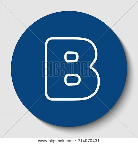 Letter B sign design template element. Vector. White contour icon in dark cerulean circle at white background. Isolated.