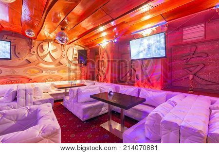 MOSCOW - AUGUST 2014: Deluxe interior karaoke bar -