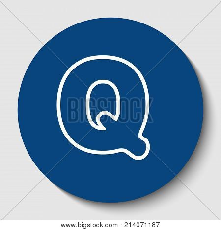 Letter Q sign design template element. Vector. White contour icon in dark cerulean circle at white background. Isolated.