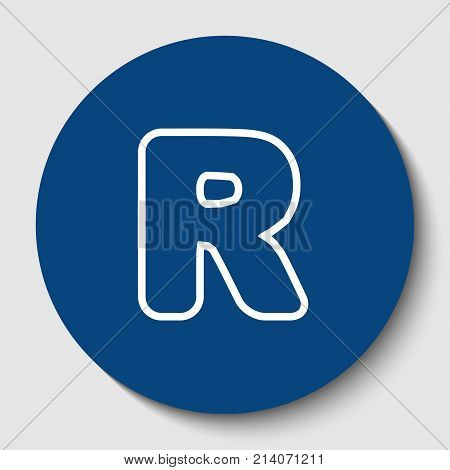 Letter R sign design template element. Vector. White contour icon in dark cerulean circle at white background. Isolated.