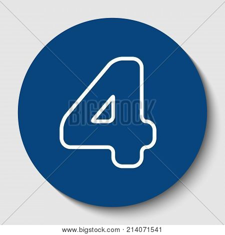 Number 4 sign design template element. Vector. White contour icon in dark cerulean circle at white background. Isolated.