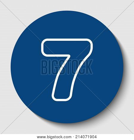 Number 7 sign design template element. Vector. White contour icon in dark cerulean circle at white background. Isolated.
