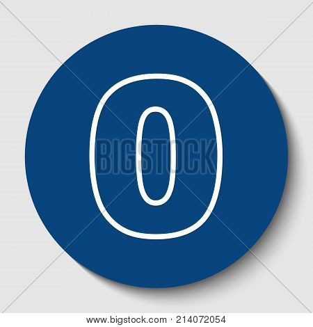 Number 0 sign design template element. Vector. White contour icon in dark cerulean circle at white background. Isolated.