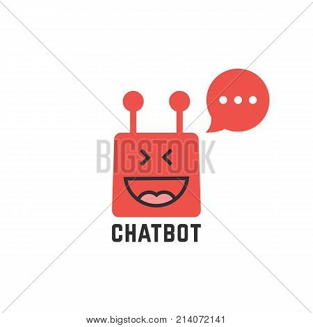 funny red chatbot icon. concept of facial, networking, ui, script, ai, chatting, spam sms, profile, yummy, lol, happiness, avatar flat style trend modern logotype graphic design on white background