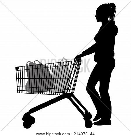 Silhouettes of woman with shopping trolleys - vector