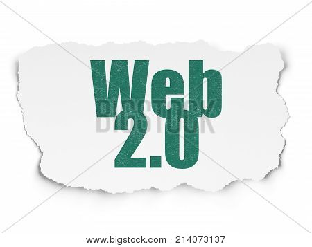 Web design concept: Painted green text Web 2.0 on Torn Paper background with  Binary Code