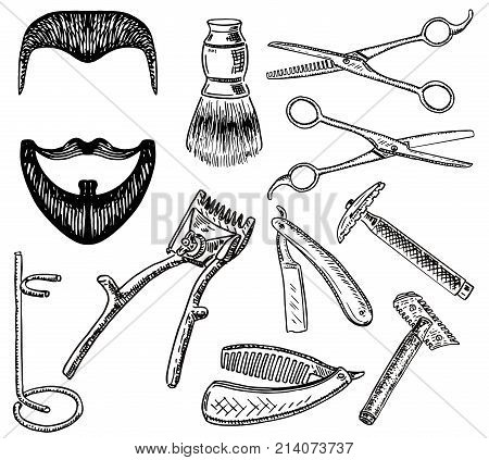 Vector ink hand drawn style barbershop set. Straight razor, scissors, shaving brush, etc. Barber shop haircut and shave concept vintage sketch illustration.