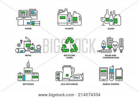 Set of recycling icons in line design. Recycle vector flat illustrations. Waste paper, metal, plastic, glass, bulbs, e-waste, mobiles and appliances icons isolated on while background stock vector.