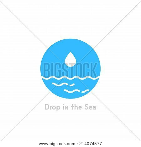 drop in the sea simple logo. concept of pure, creative unusual badge, insufficiently, fluid, lake, motion, idea of purity. flat style trend modern brand graphic design element on white background
