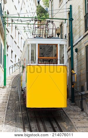 Famous historic funicular railway in Lisbon, Portugal.