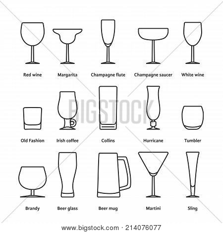 pack of different thin line stemware. concept of party, classic menu, pub, barman, gift, date, valentine day, cafe, liquor, vodka. outline style isolated logotype graphic design on white background