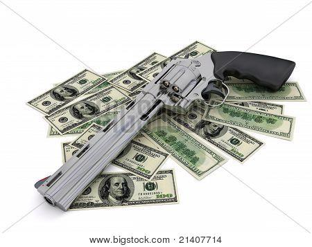 Colt revolver in U.S. dollars