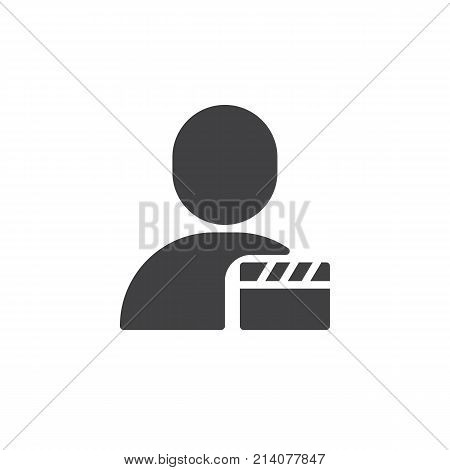 User movie icon vector, filled flat sign, solid pictogram isolated on white. Man and clapper symbol, logo illustration.