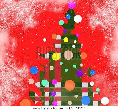 Ridiculous Christmas tree in picture red background