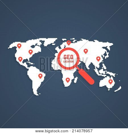 geo location with pixel art world map. concept of pinpoint dot, web user interface, tourism, planet shape, route badge, interest. flat style trend simple white logotype graphic design on background