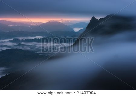 Misty Mountain View With Fog In Morning At Doi Pha Tang, Chiang Rai, Thailand.