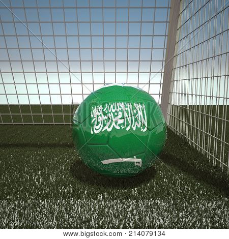 Football with flag of Saudi Arabia, 3d rendering