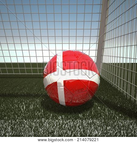 Football with flag of Denmark, 3d rendering