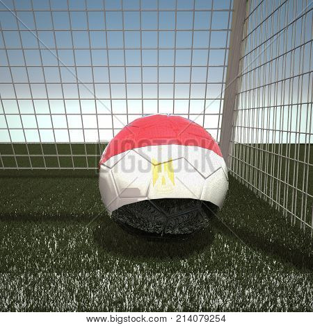 Football with flag of Egypt, 3d rendering
