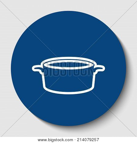 Pan sign. Vector. White contour icon in dark cerulean circle at white background. Isolated.