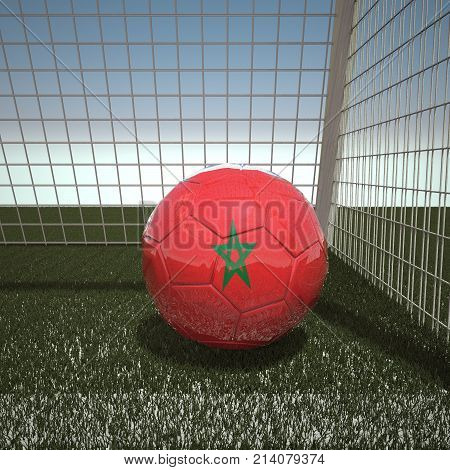 Football with flag of Morocco, 3d rendering