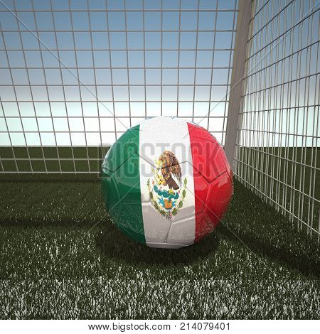 Football with flag of Mexico, 3d rendering