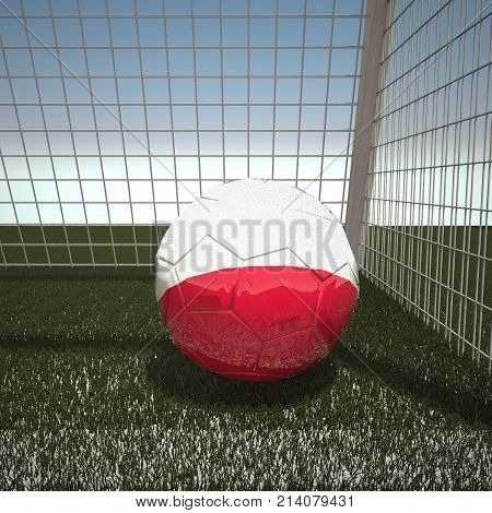 Football with flag of Poland, 3d rendering