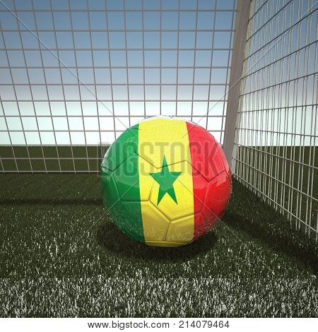 Football with flag of Senegal, 3d rendering