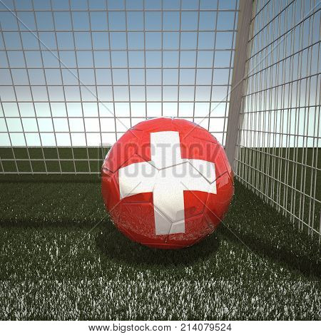 Football with flag of Switzerland, 3d rendering