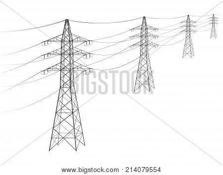 Overhead Power Line. A Number Of Electro-eaves Departing Into The Distance. Transmission And Supply