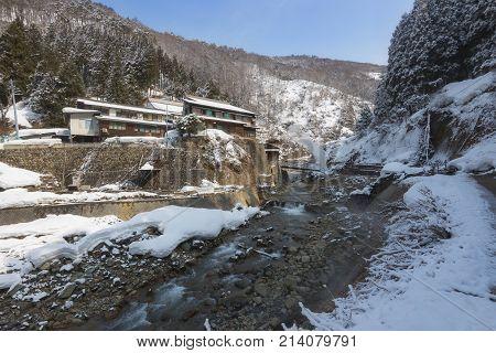Small Village In Valley, Jigokudani Snow Monkey Park, Nagano, Japan