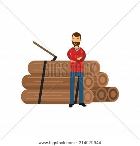Bearded woodcutter in hipster plaid shirt standing near pile of logs with arms crossed. Cartoon smiling lumberjack character design isolated on white. Worker man concept. Flat vector illustration.