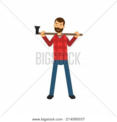 Cartoon woodcutter character design standing and holding axe on his shoulders. Bearded hipster lumberjack dressed in red plaid shirt and blue jeans. Worker man. Isolated flat vector illustration.