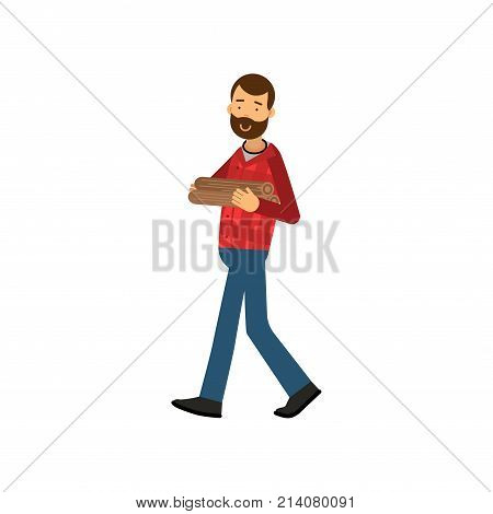Young lumberjack with beard in red plaid shirt and blue jeans carrying stack of firewood in hands. Cartoon woodcutter character in flat design. Forest worker concept. Isolated vector illustration.