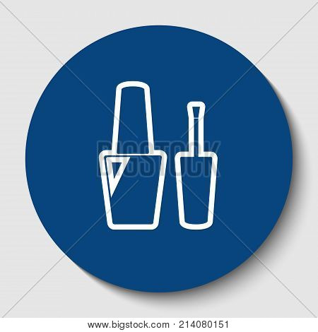 Nail polish sign. Vector. White contour icon in dark cerulean circle at white background. Isolated.