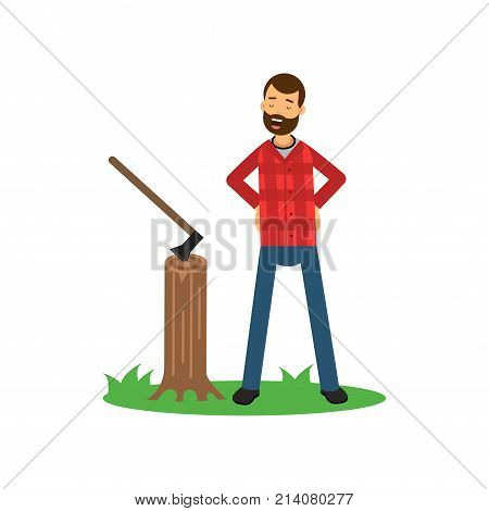 Cartoon woodcutter character standing on green grass with arms akimbo near tree stump with ax. Bearded hipster lumberjack in red plaid shirt and blue jeans. Flat vector illustration isolated on white.