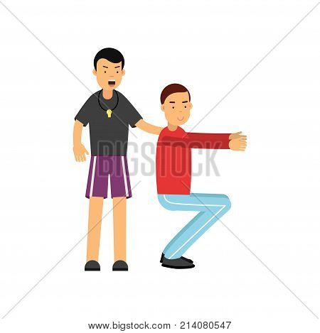 Trainer holds training session with young man. Guy doing squat. Coach in fitness club. Cartoon character of sports people. Physical activity concept. Flat vector illustration isolated on white.