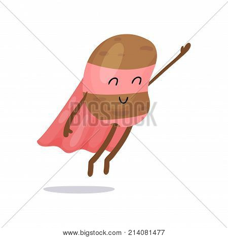 Adorable potato character with pink cape, mask and pants flying with hand up. Cartoon superhero vegetable with super powers. Healthy nutrition. Flat vector illustration for print, sticker, badge, card