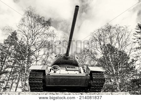 Soviet medium tank T-34 of the World war II. Kezmarok Slovak republic. Symbolic object. Black and white photo.