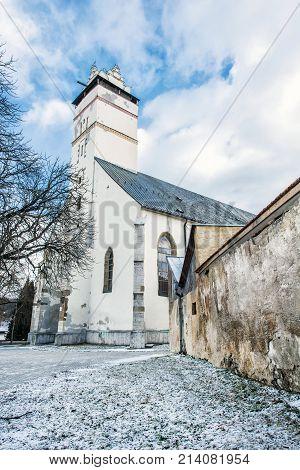 Basilica of the Holy Cross in Kezmarok city Slovak republic. Religious architecture. Travel destination.