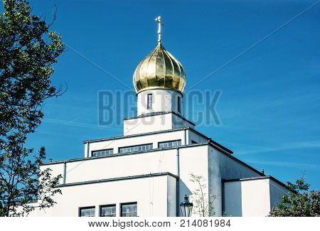 Saint Wenceslas orthodox cathedral in Brno Czech republic. Religious architecture. Blue photo filter.