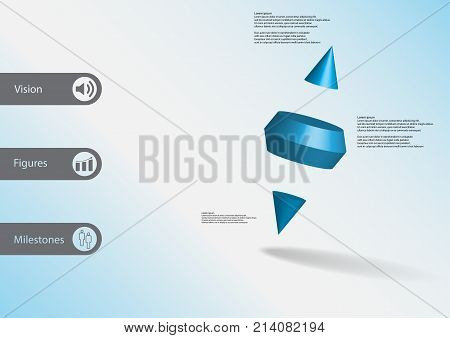 3D Illustration Infographic Template With Two Spike Cone Divided To Three Parts Askew Arranged