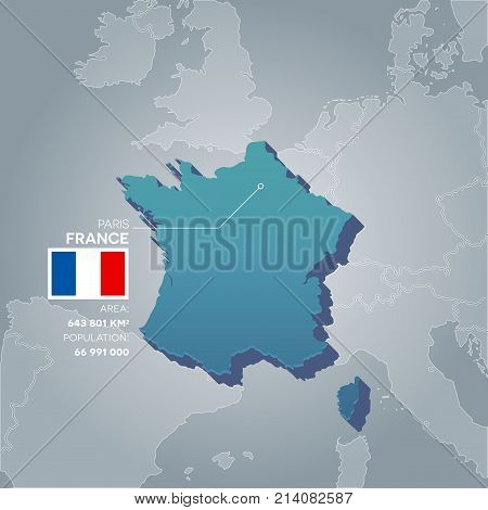 France 3d map with information of area and population of the country.
