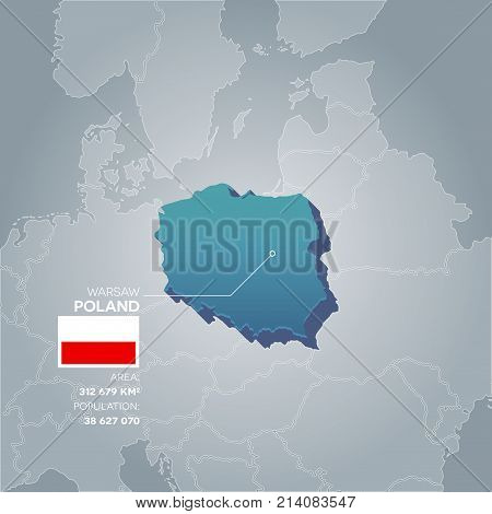 Poland 3d map with information of area and population of the country.