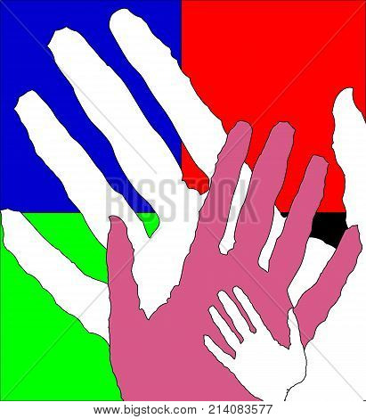 Children and adults hands, vector art illustration.