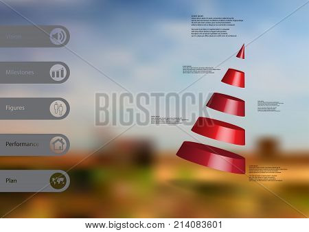 3D illustration infographic template with motif of cone divided to five red parts askew arranged with simple sign and sample text on side in bars. Blurred photo is used as background.